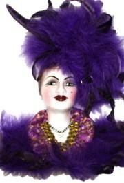 14in x 9in Purple Porcelain Face w/Feathers
