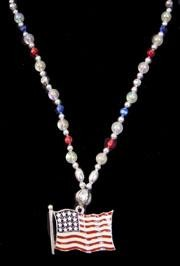 Enamel American Flag Necklace