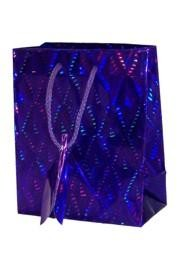 18in x 13in x 4in Purple Hologram Shopping Bag