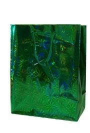 18in x 13in x 4in Green Hologram Shopping Bag