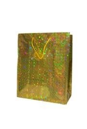 12 .5in x 10in x 5.5in Gold Hologram Shopping Bag