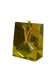 5.5in x 4.5in x 2.5in Gold Hologram Shopping Bag