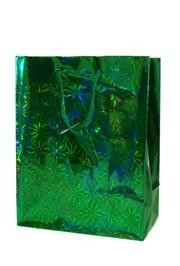 15in x 11in x 4in Green Hologram Shopping Bags