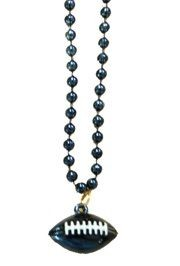 7mm 33in Navy Blue Beads with Football Medallion