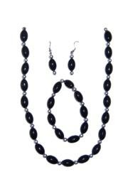 Black Football Shaped Necklace Bracelets and Earrings Bead Set with Silver Spacers