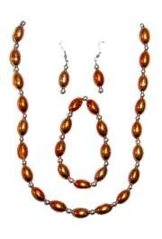 Orange Football Shaped Necklace Bracelets and Earrings Bead Set with Silver Spacers