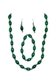 Green Football Shaped Necklace Bracelets and Earrings Bead Set with Silver Spacers