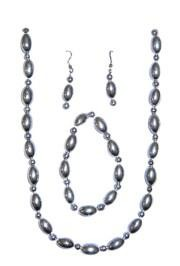 Silver Football Shaped Necklace Bracelets and Earrings Bead Set with Silver Spacers