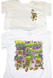 Kids Mardi Gras Long Sleeve T-Shirts w/ Glittered Monkeys Design Large Size