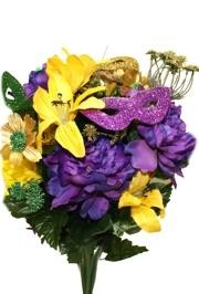 Mardi Gras Flowers make for great decorations - Bouquets, decorations, Glitter Leaves, Decorative Center Pieces, Glittered Flowering Ferns, Decorative Stems