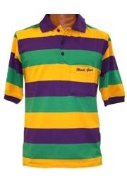 Mardi Gras Style T-Shirt W/Short Sleeve/Pocket/Collar And Embroidered Mardi Gras Words