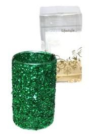 6in x 3.6in Green Sequined Glass Candle Holder With  1 1/2in Candle