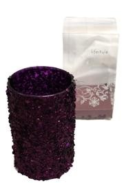 6in x 3.6in Purple Sequined Glass Candle Holder W/ 1 1/2 in Candle