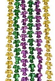 33in Metallic Purple Green Gold Jester Beads