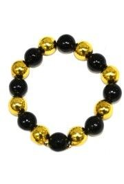 12mm Round Black/ Gold Bracelet