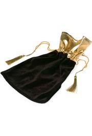 9 1/4in Tall Black/Gold Drawstring Gift/Jewelry Bag