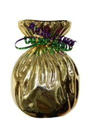 7in Metallic Gold Plastic Vase with Purple and Green Curled Ribbon