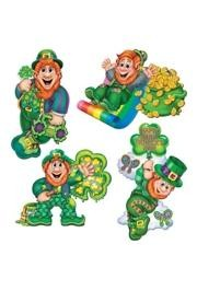 St. Patrick's Cardboard cutouts make great wall decorations for the home, office, restaurant, or classroom.  Some of our best selling St. Patrick's Day cutouts include the jointed leprechaun cutout, happy St. Patrick's Day sign, St. Patrick's Say cutouts, clover cutouts, and the Irish Flag cutouts.