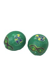 5in Plastic Green Coconuts with Mardi Gras Design