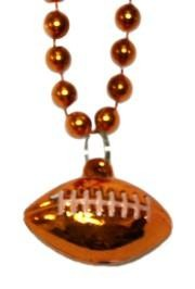 7mm 33in Orange Beads with Football Medallion