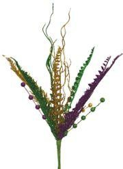 Assorted Purple Green Gold Glittered Fern Bush