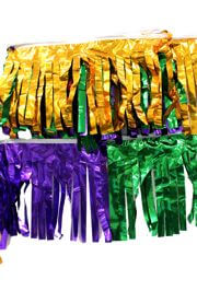 60ft x 12in Purple Green Gold Metallic Fringe Banner