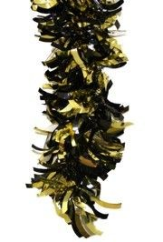 9ft Long x 4in Wide Black and Gold Metallic Shiny Tinsel Garland