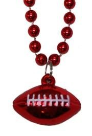 7mm 33in Red Beads with Football Medallion