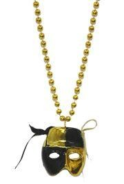 Black and Gold Checkered Mask Necklace
