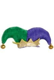 3in Tall x 4 1/2in Wide Plush Jester Mardi Gras Hat Hair Clip