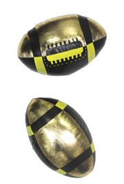 9in Long x 5in Wide Metallic Black and Gold Vinyl Footballs