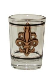 3in Tall 4oz. Jumbo Shot w/Fleur-De-Lis Design