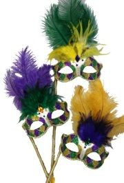Purple, Green, and Gold Venetian Masquerade Mask on a Stick with Ostrich Feathers