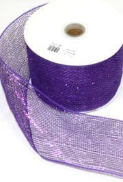 4in x 75ft Sinamay Metallic Purple Mesh Ribbon/ Netting