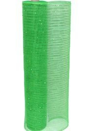 21in x 30ft Green Mesh Ribbon w/ Metallic Green Stripes