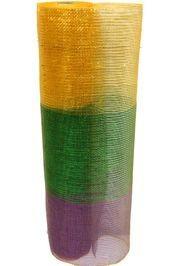 21in x 30ft Metallic Purple/ Green/ Gold Band Mesh Ribbon