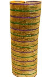 Deco Mesh Ribbon in traditional Mardi Gras colors - Purple, Green, and Gold - ideal for Mardi Gras wreaths and float decorating.