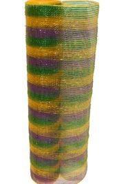 21in x 30ft Metallic Purple/ Green/ Gold Multi Band Mesh Ribbon