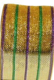 6in x 75ft Sinamay Metallic Purple/ Green/ Gold Multi Stripe Mesh Ribbon/ Netting