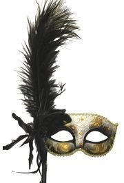 Black and Gold Venetian Masquerade Mask on a Stick With a Large Ostrich Feather