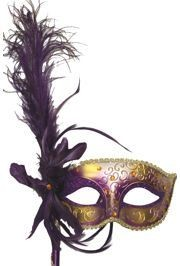 Purple and Gold Venetian Masquerade Mask on a Stick with a Large Ostrich Feather