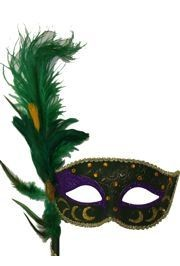 Feather Masks: Purple masquerade mask with green ostrich feather