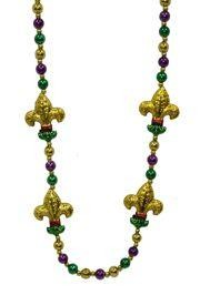 42in 12mm Purple/Green/Gold Necklace w/ Four 2 1/2 in Fleur-De-Lis Medallions