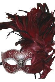 Feather Masks: Dark Red Venetian Mask with Feathers