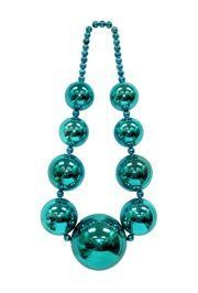 Tapered Metallic Turquoise Big Ball Bead