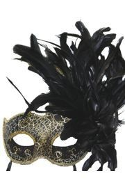 Feather Masks: Black and Gold Venetian Masquerade Mask