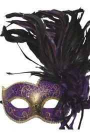 Purple Papier Mache Venetian Masquerade Mask with Feathers