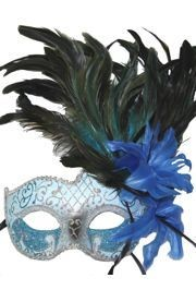 Feather Masks: Sky Blue Venetian Masquerade Mask