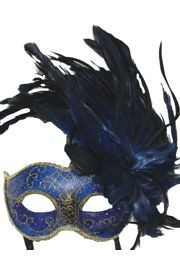Feather Masks: Blue Venetian Masquerade Mask