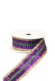 Purple, Green, and Gold Crinkle Mardi Gras Ribbon